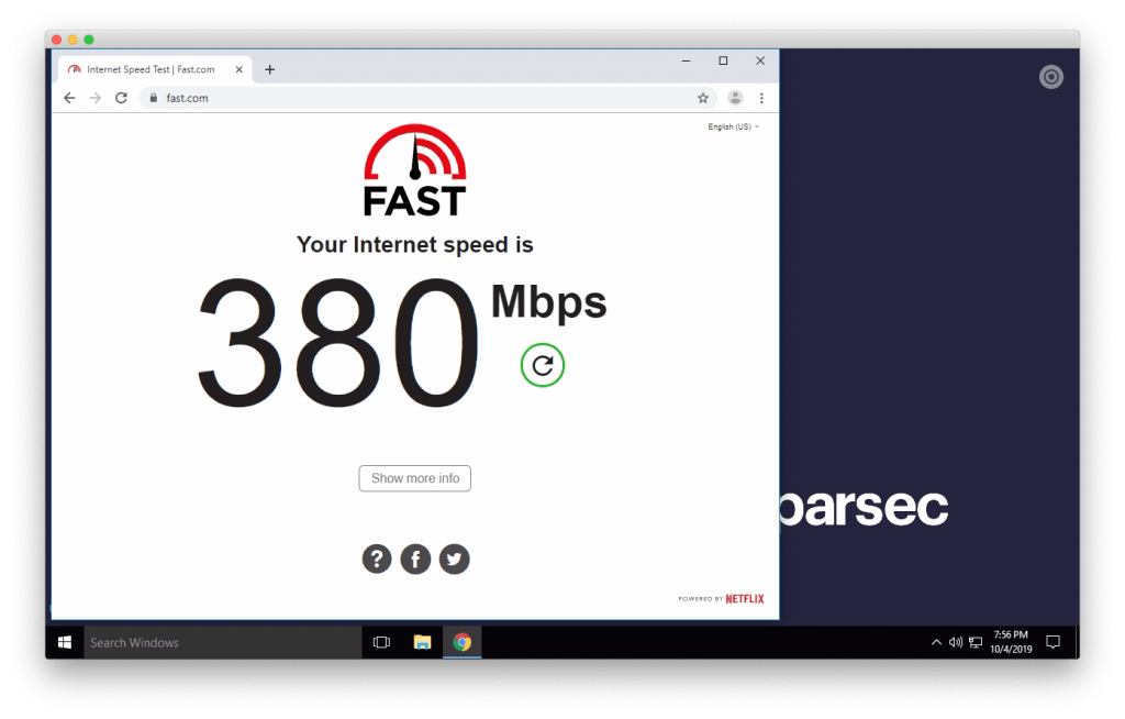 Speedtest na Paperspace