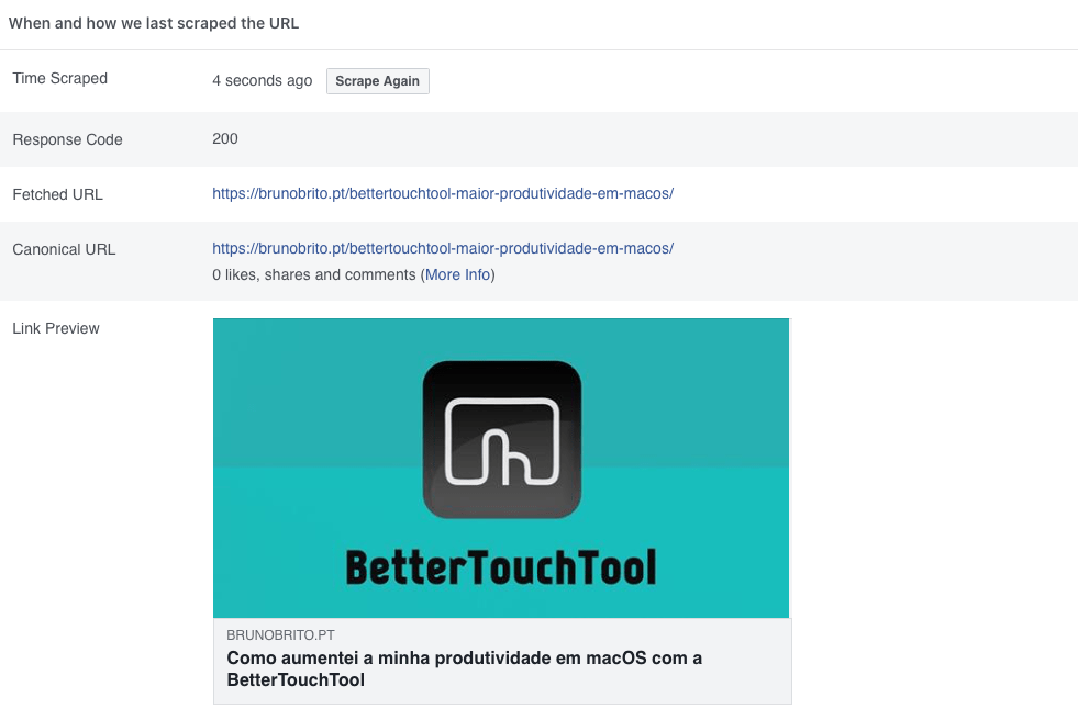 Facebook Sharing Debugger - Scrape Again